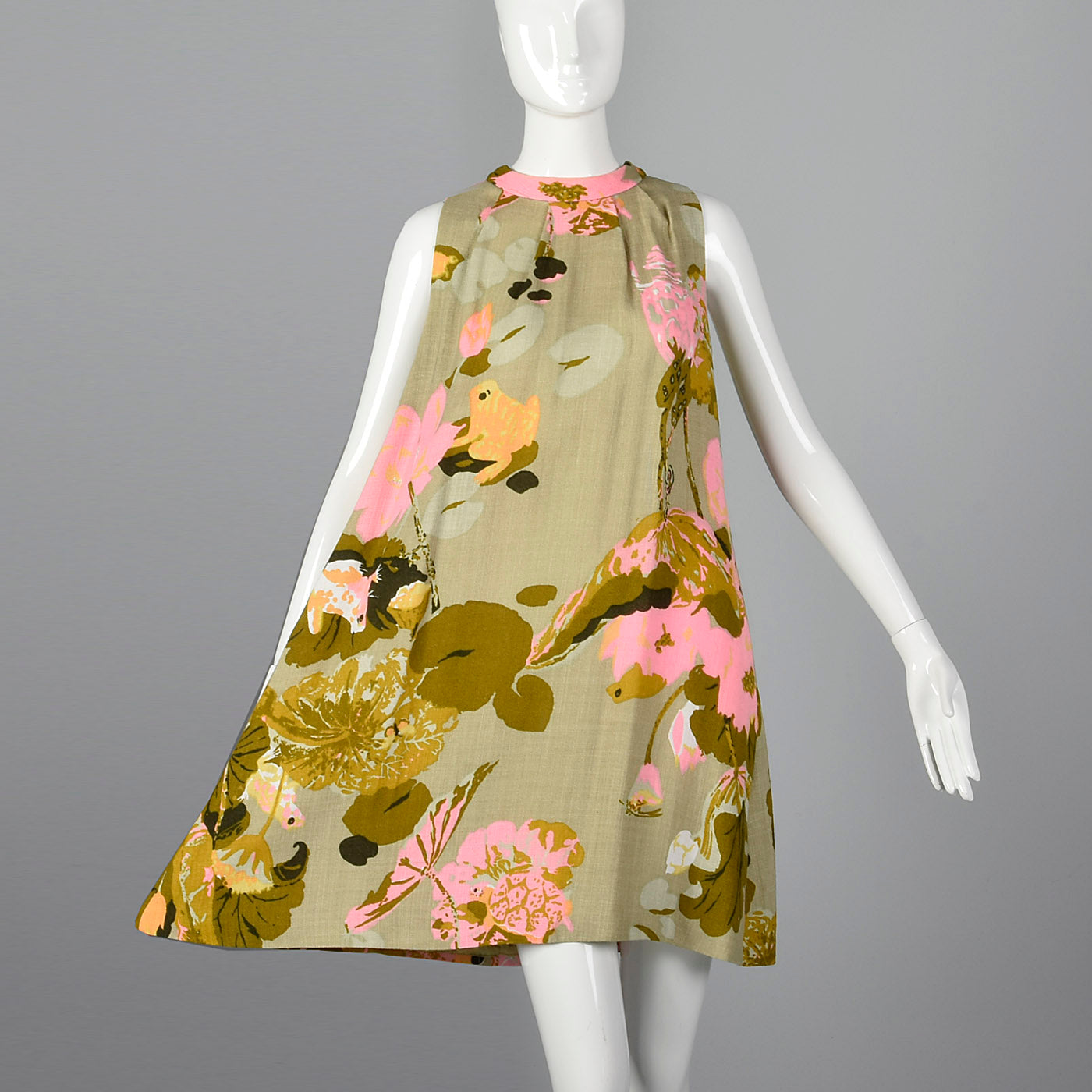 1960s Novelty Frog Print Dress