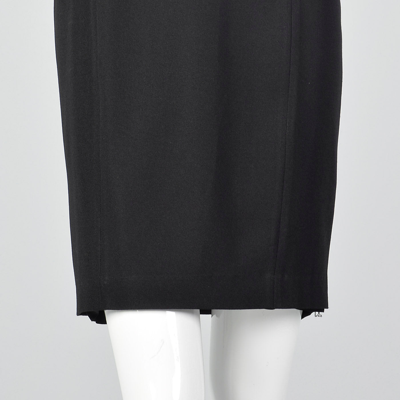 1990s Carmen Marc Valvo Black Dress with Illusion Neckline