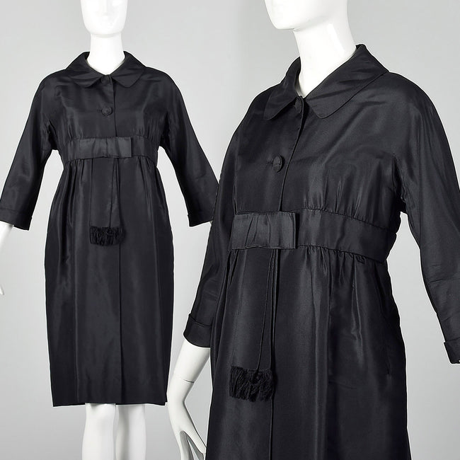Large 1960s Black Silk Evening Jacket