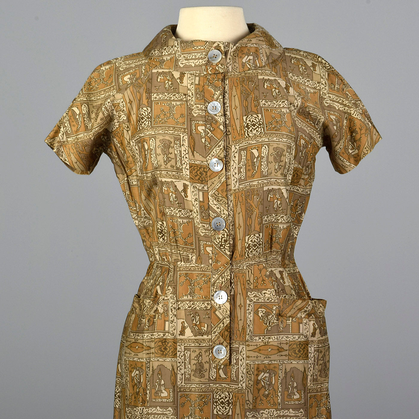 1950s Novelty Print Cotton Dress