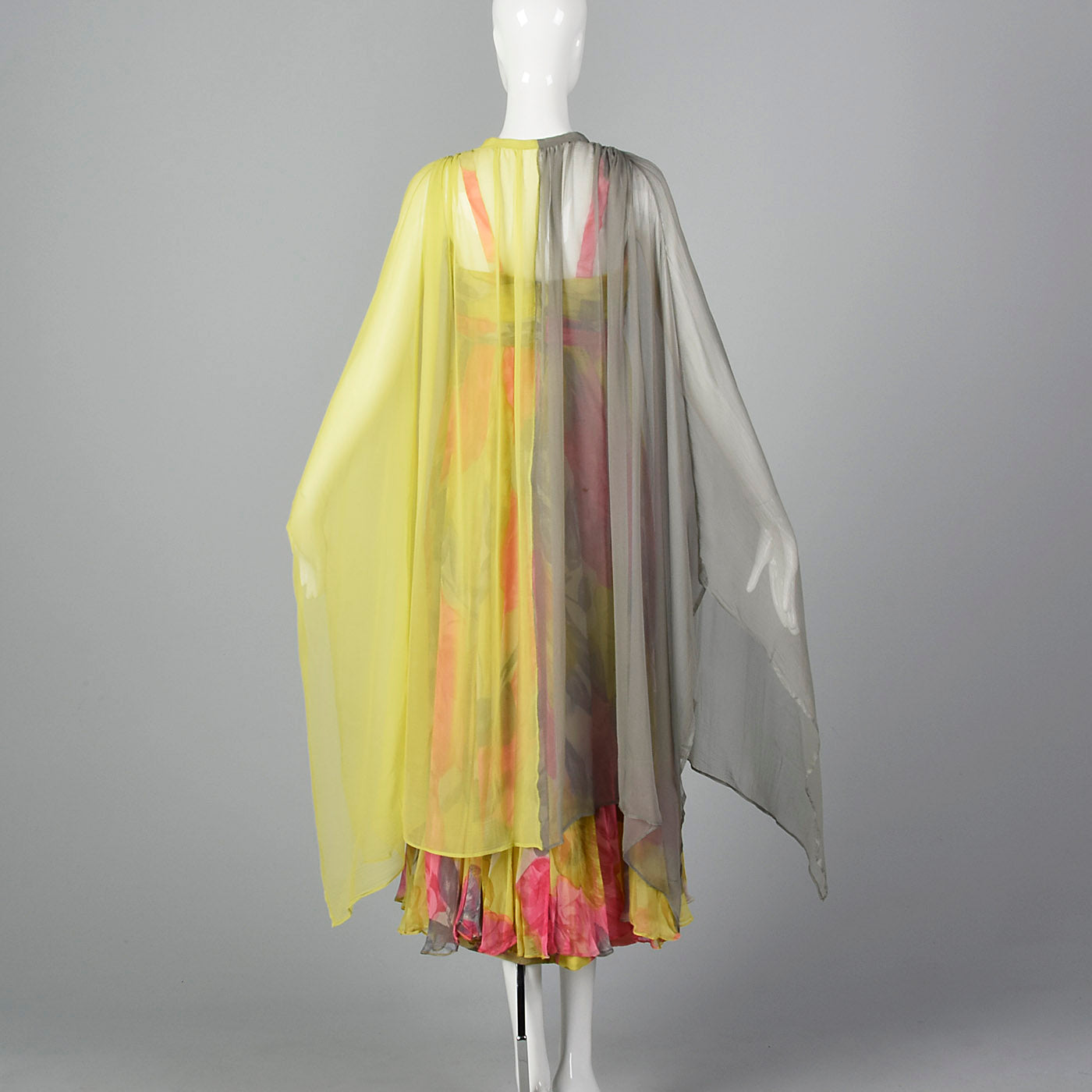 1960s Silk Floral Dress with Color Block Cape