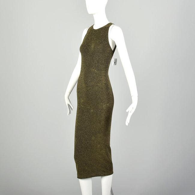 Wolford Metallic Gold Dress Keyhole Back Sexy Stretch Bodycon