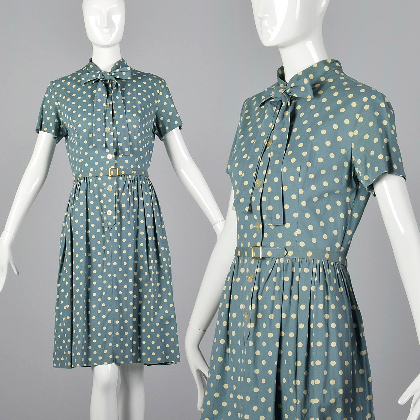 1950s Blue Polka Dot Day Dress