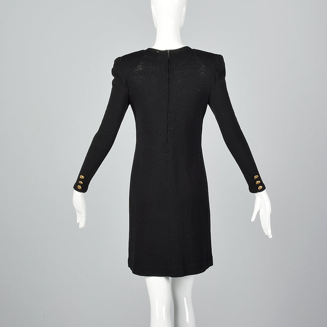 1980s Black Knit Dress with Gold Buttons