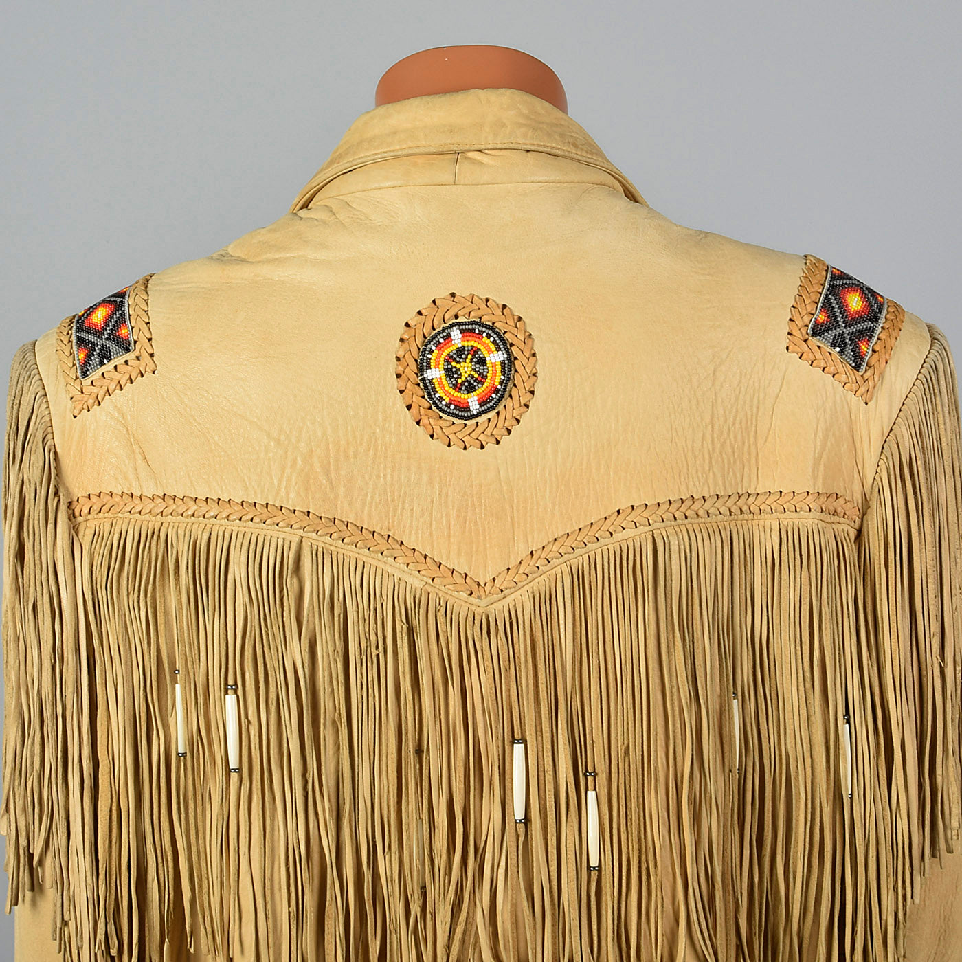 1990s Mens Leather Fringe Jacket