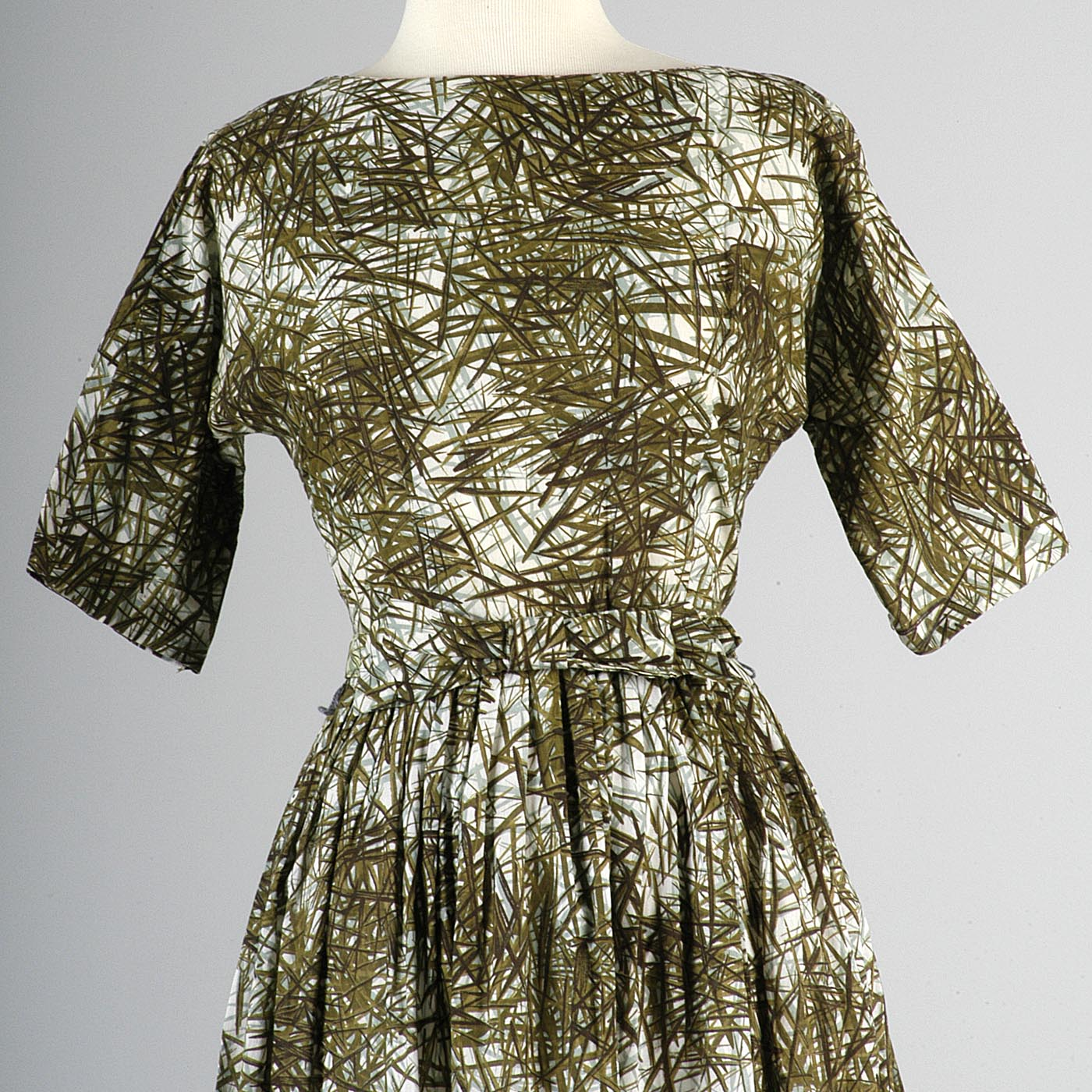 1950s Day Dress with Green and Blue Print