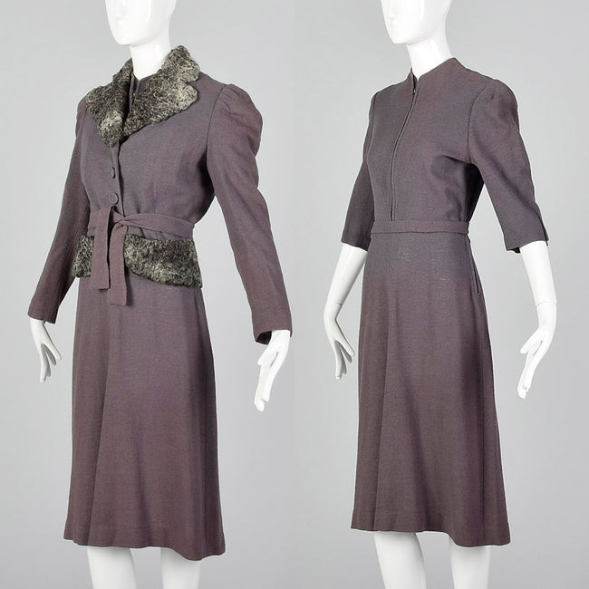 Small 1930s Gray Dress & Fur Trimmed Jacket Set