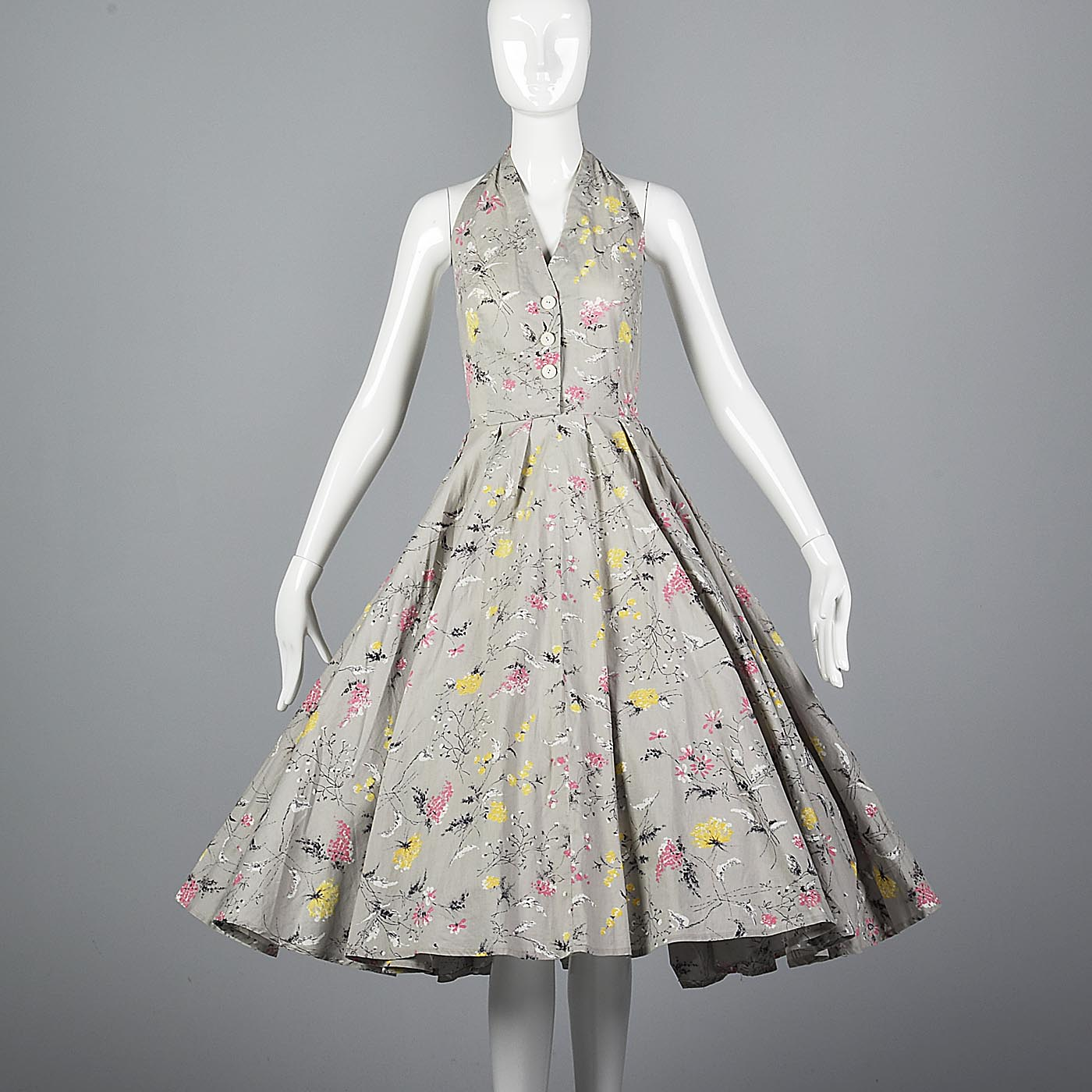 1950s Gray Floral Print Halter Dress with Full Circle Skirt