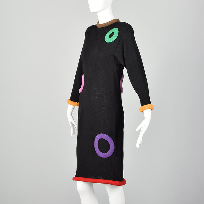 Small 1980s Adolfo Black Sweater Dress