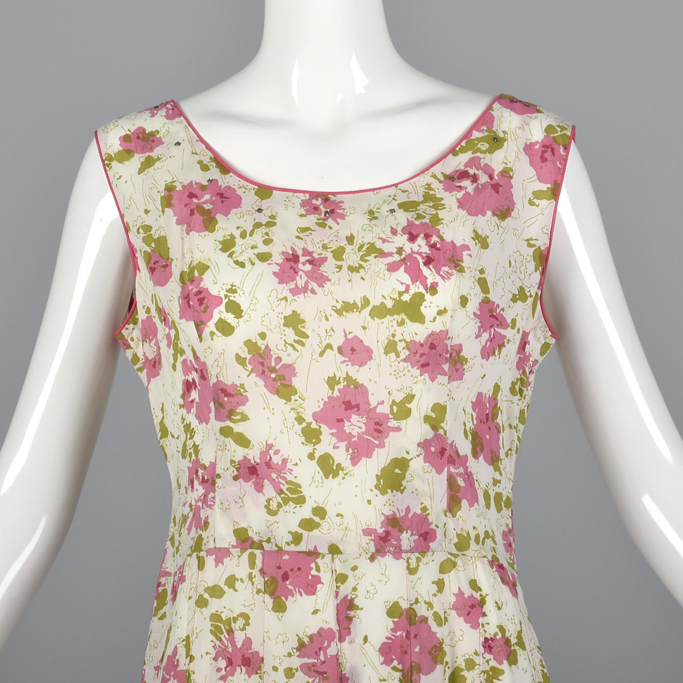 1930s Floral Cotton Slip On Dress with Rhinestone Detail