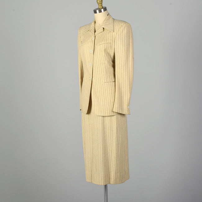 Small 1940s Cream Striped Skirt Suit