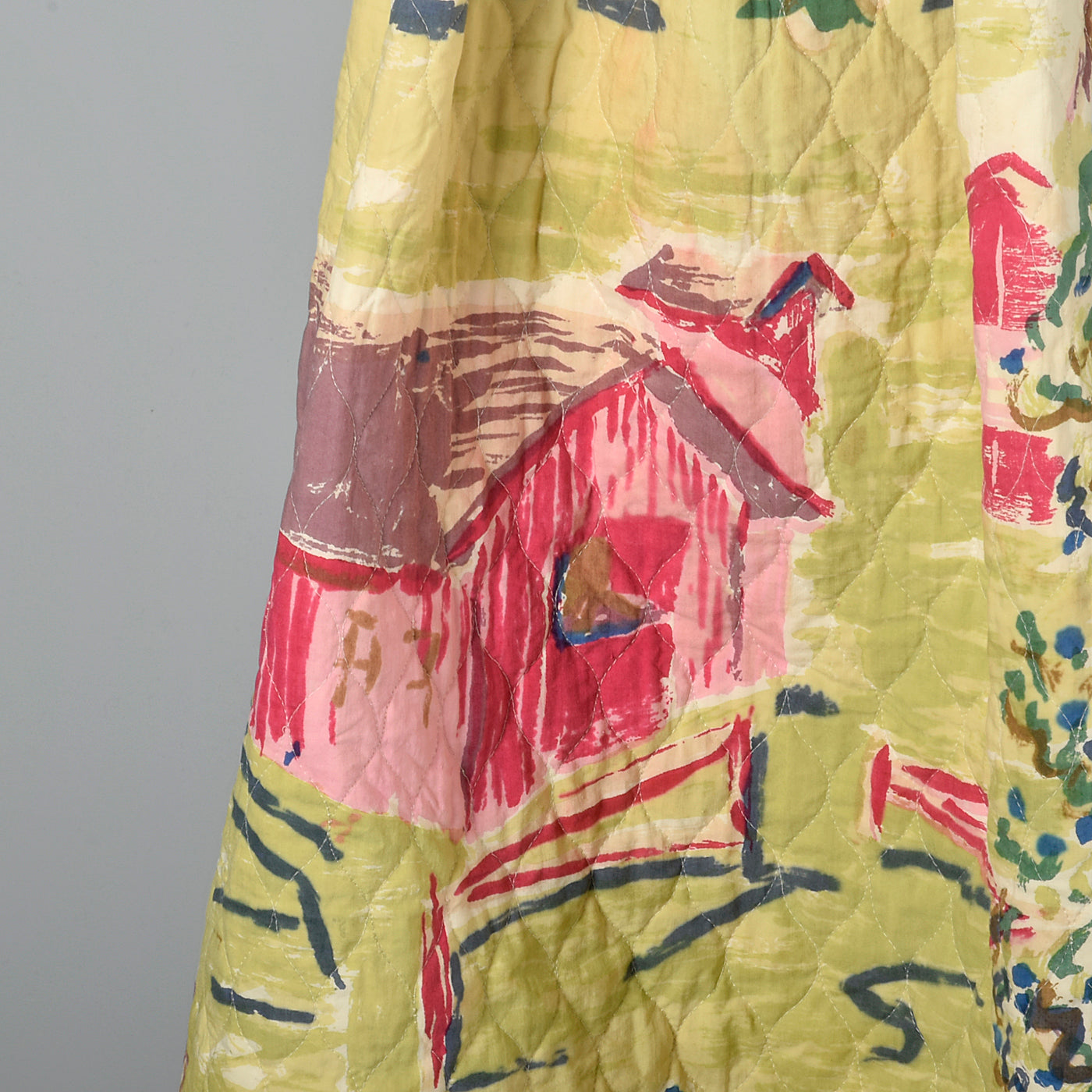 1950s Quilted Novelty Print Skirt