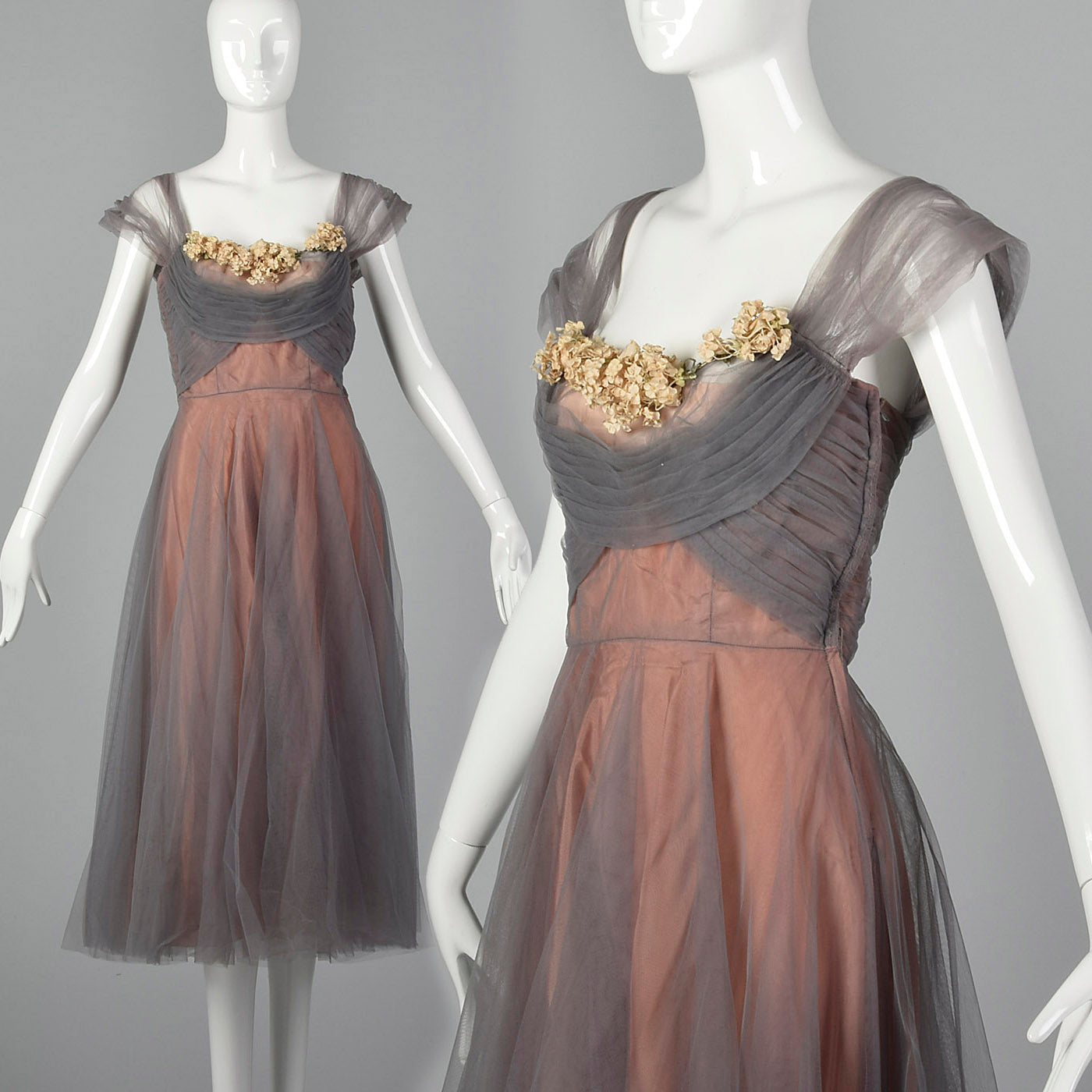 1950s Gray and Pink Mesh Dress with Faux Flower Bust
