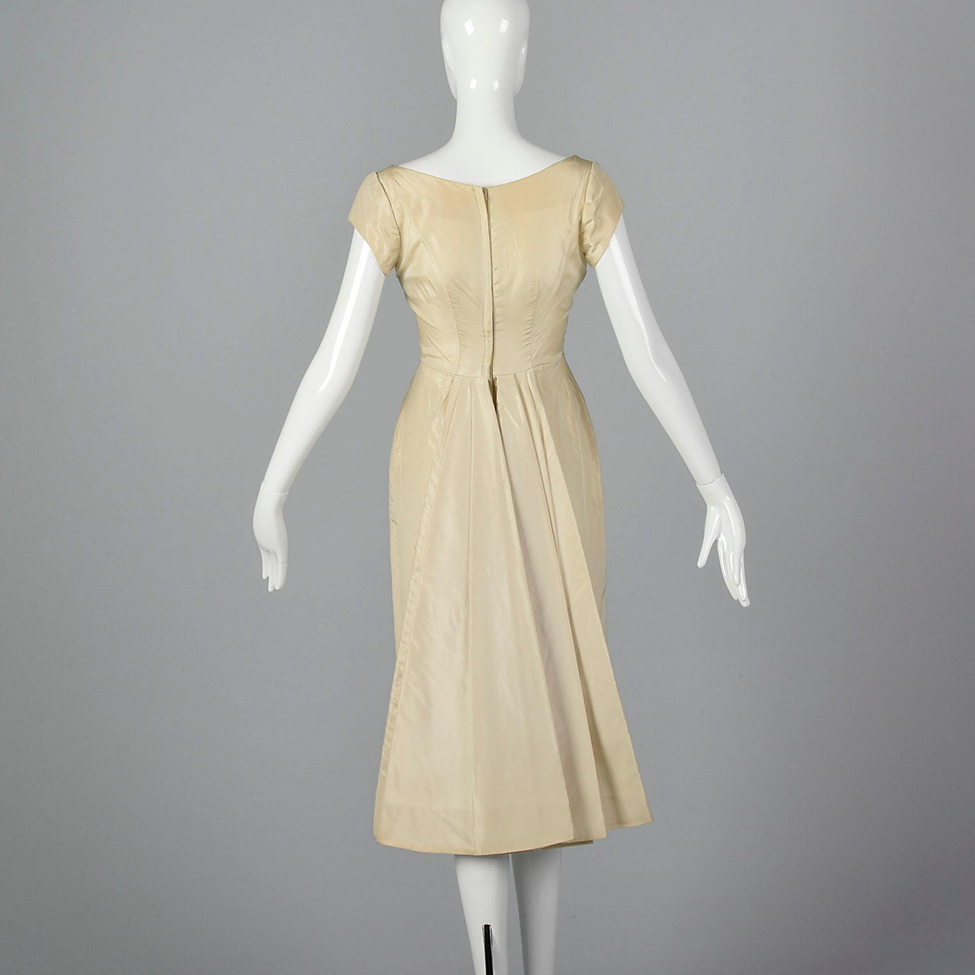 1950s Ivory Wedding Dress with Overskirt