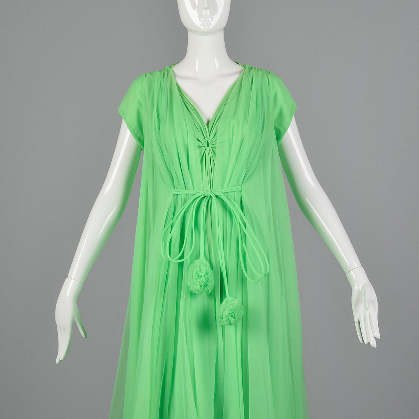 1960s Claire Sandra Lucie Ann Green Night Gown and Peignoir Set