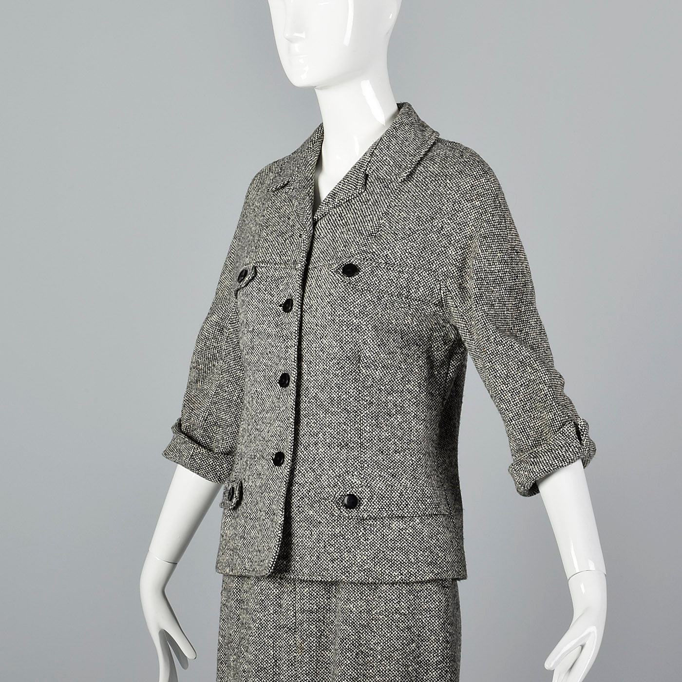 1960s Black and White Tweed Skirt Suit with Red Lining