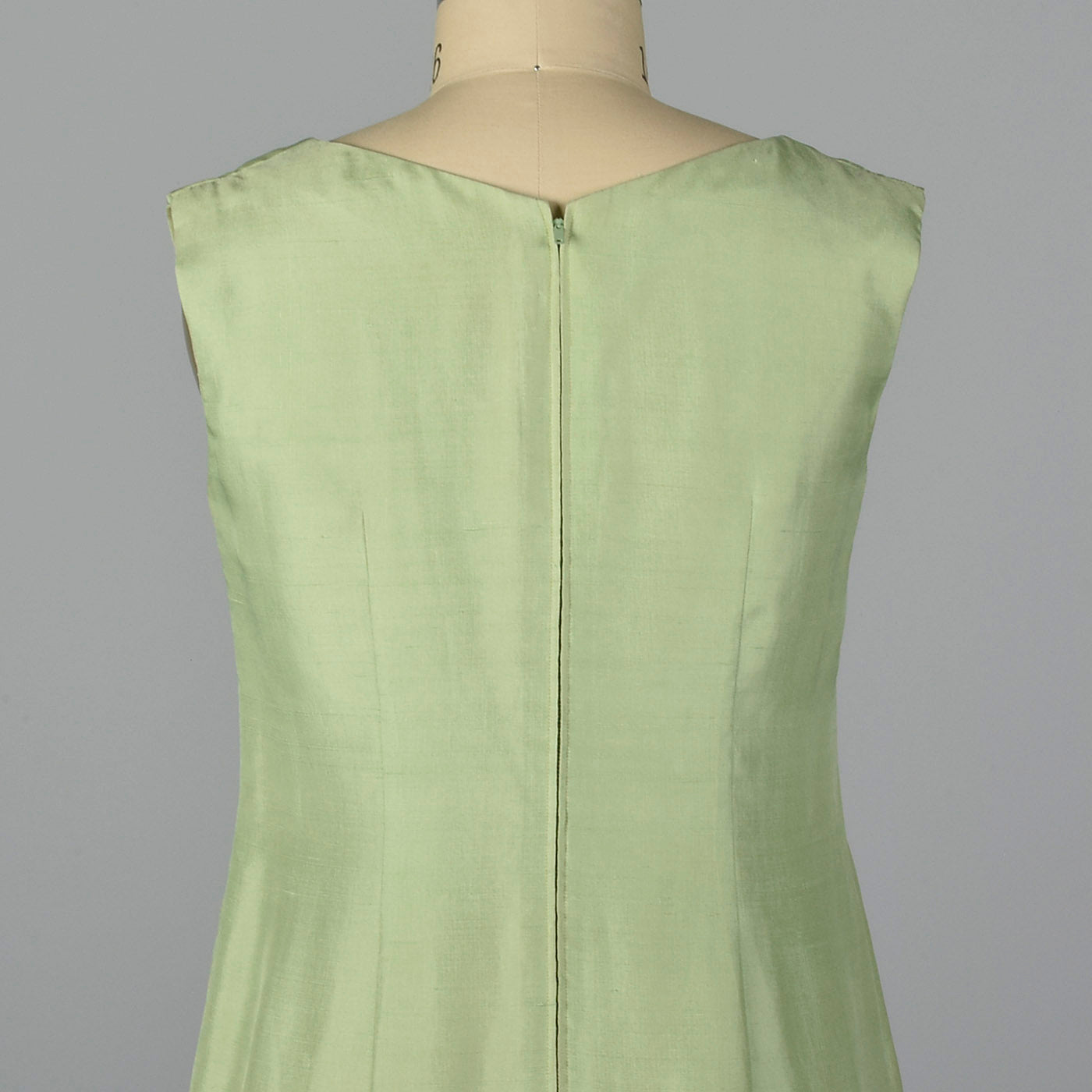 1960s Green Silk Shift Dress