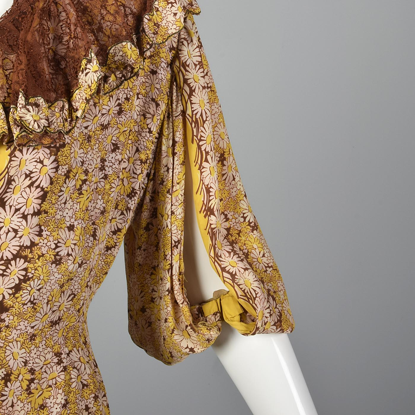 1930s Yellow Floral Dress with Open Sleeve Jacket