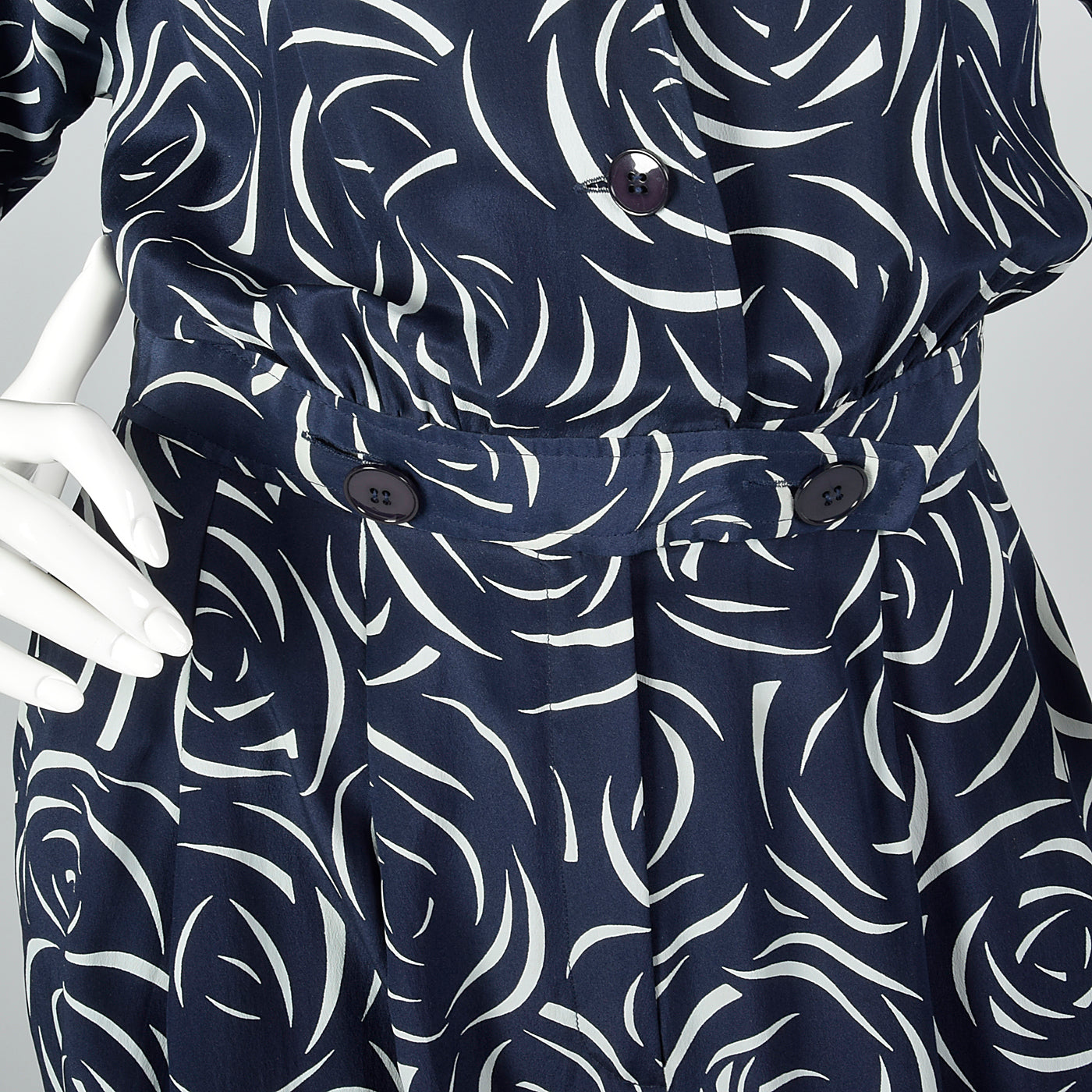 1980s Albert Nipon Navy Silk Print Jumpsuit
