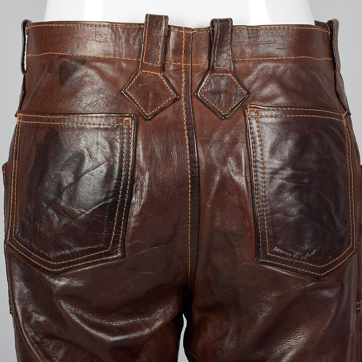 1970s Brown Leather Pants with Antler Buttons