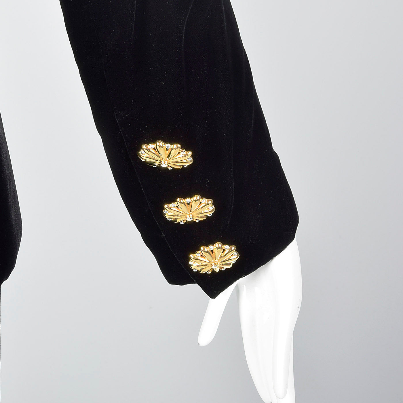 1980s Givenchy Nouvelle Boutique Black Velvet Skirt Suit