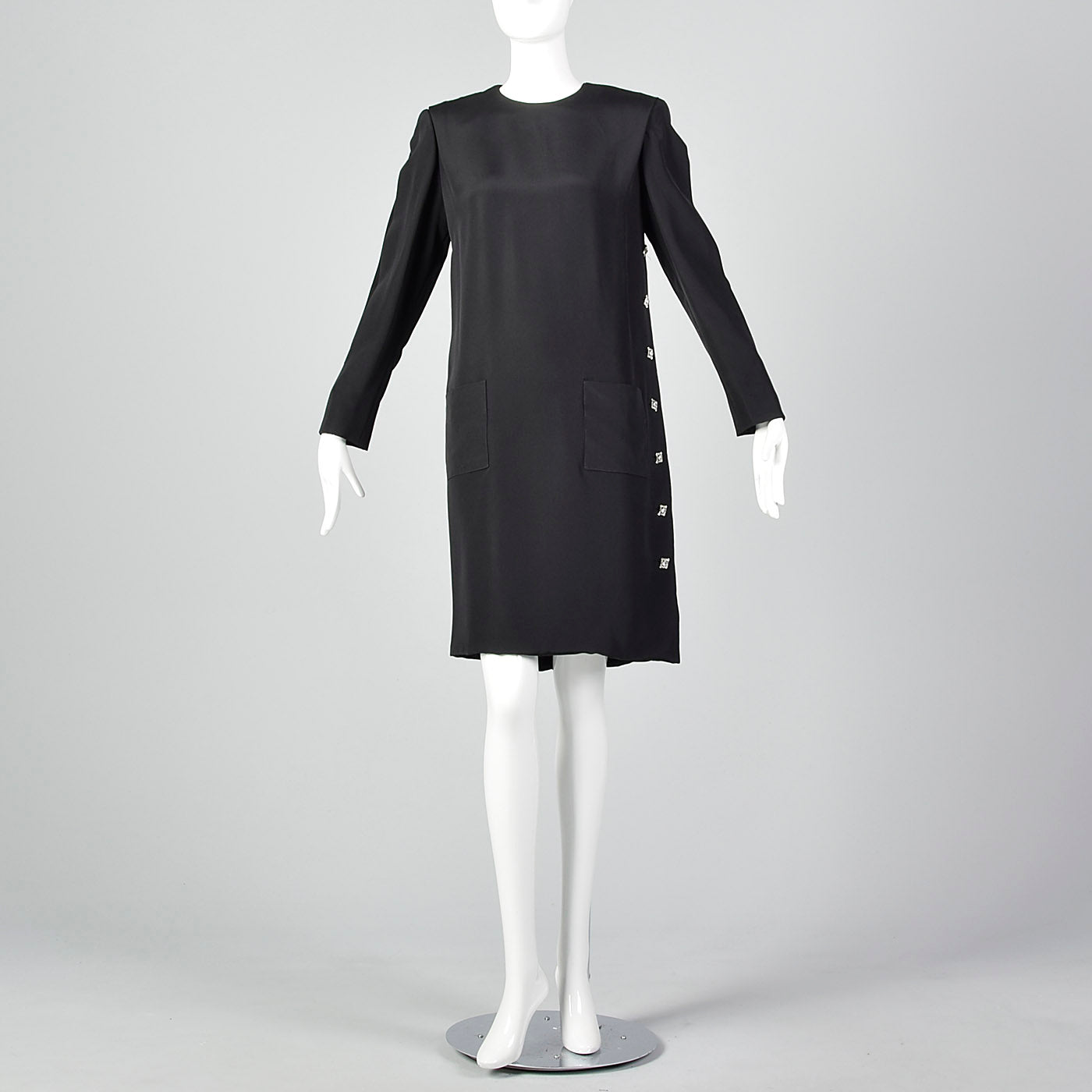 1980s Michael Novarese Black Dress