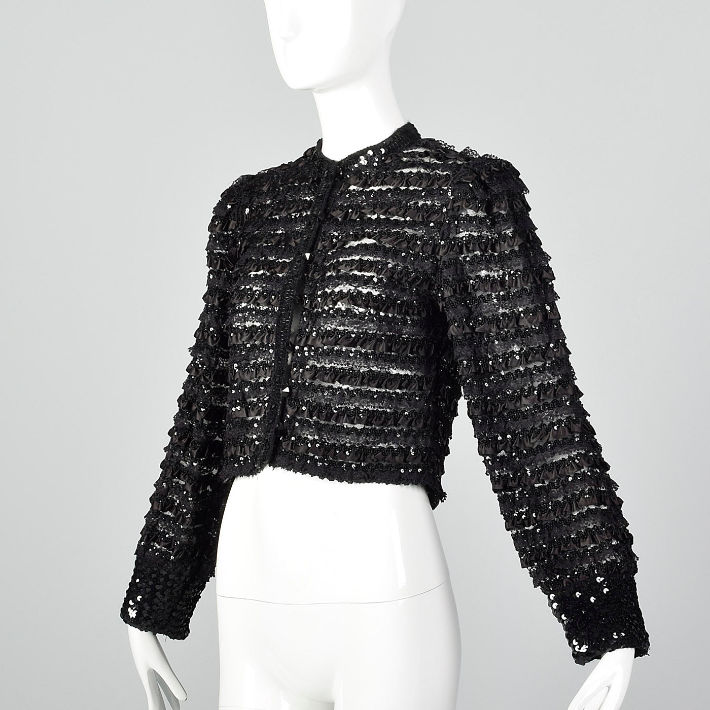1970s Saks Fifth Avenue Black Lace Jacket