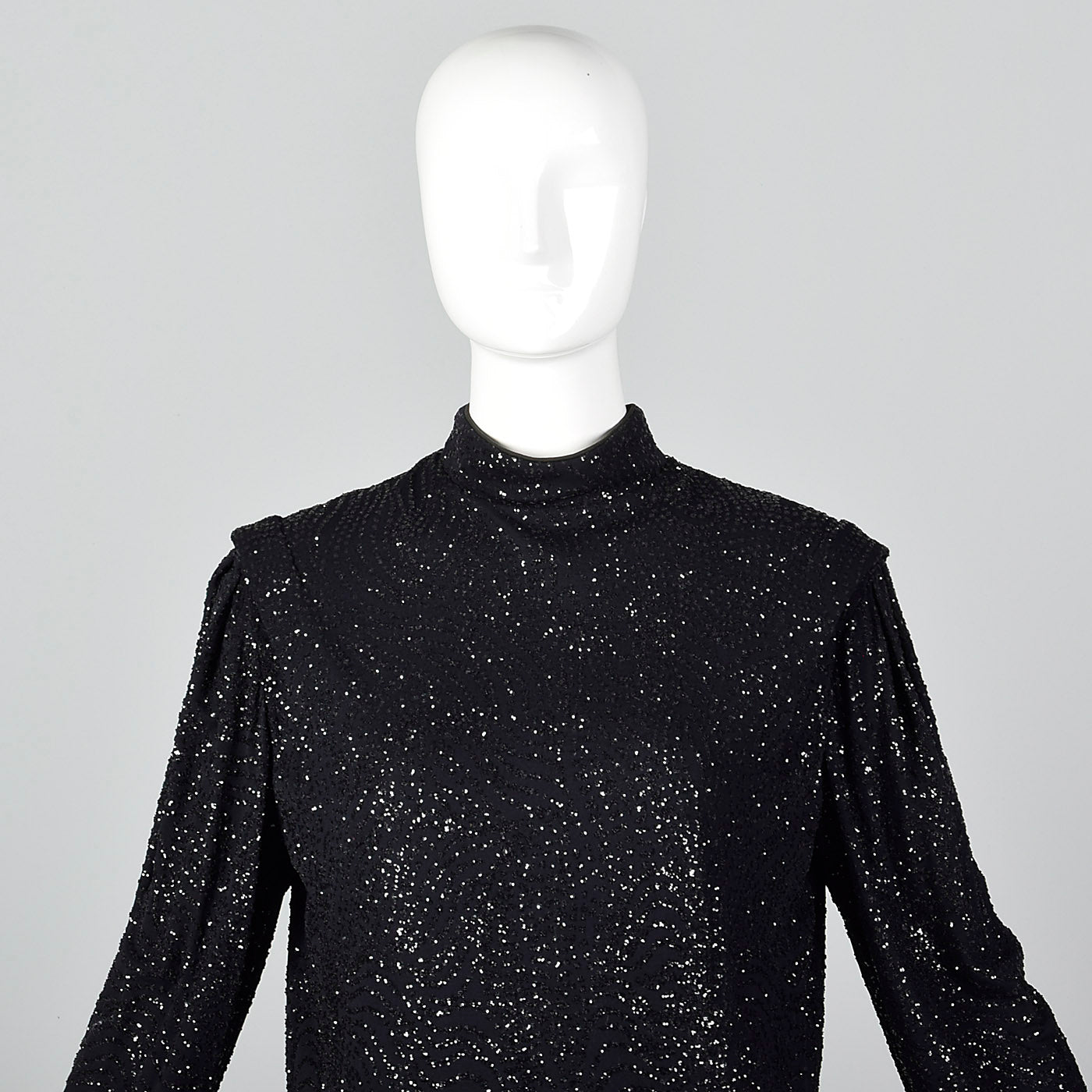 1980s Black Glitter Sack Dress