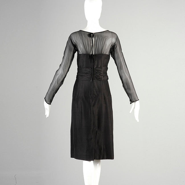 1960s Black Silk Dress with Sheer Overlay