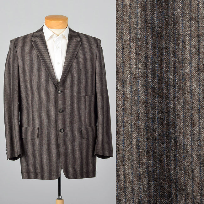 1950s Mens Gray and Charcoal Stripe Jacket