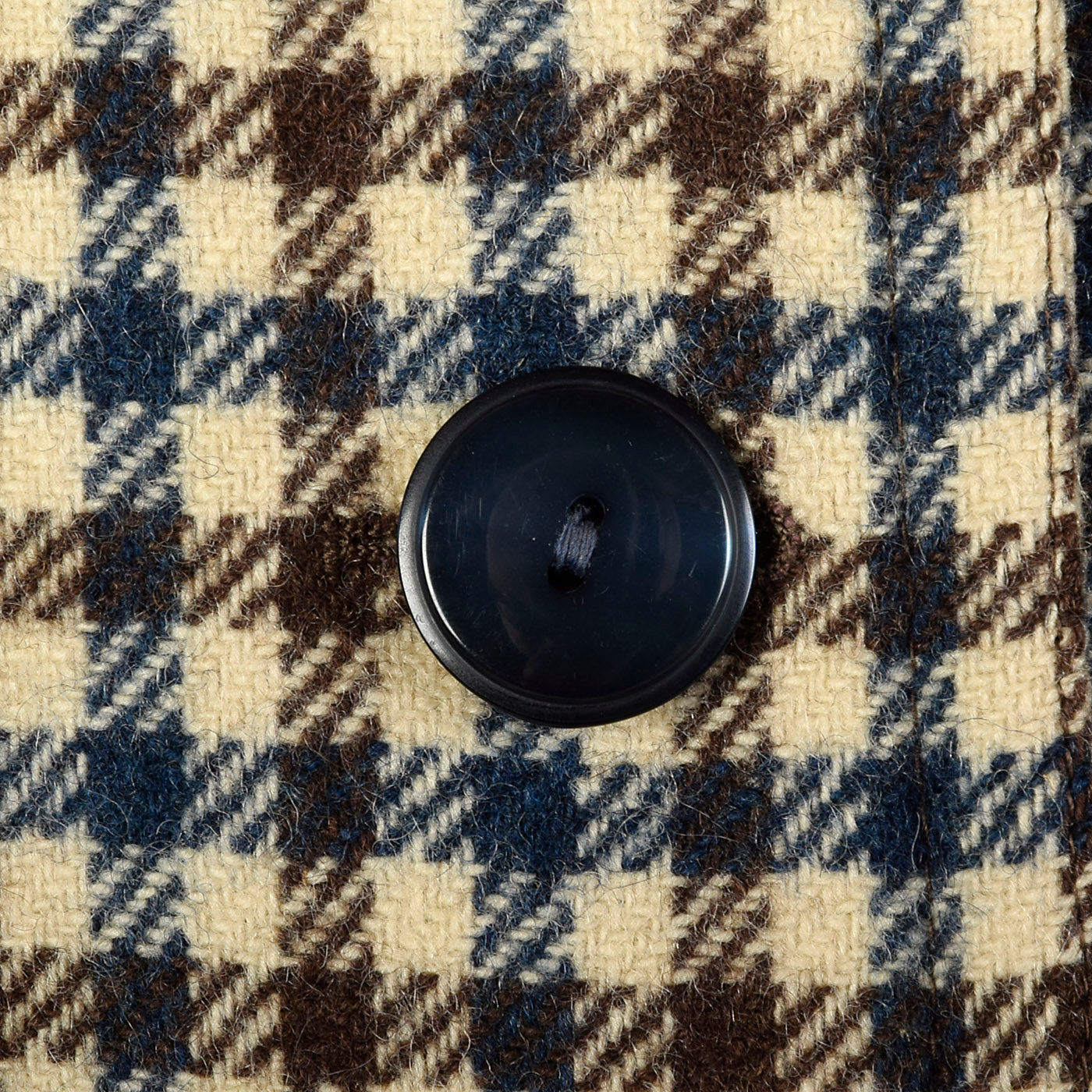 1960s Brown and Navy Plaid Wool Coat