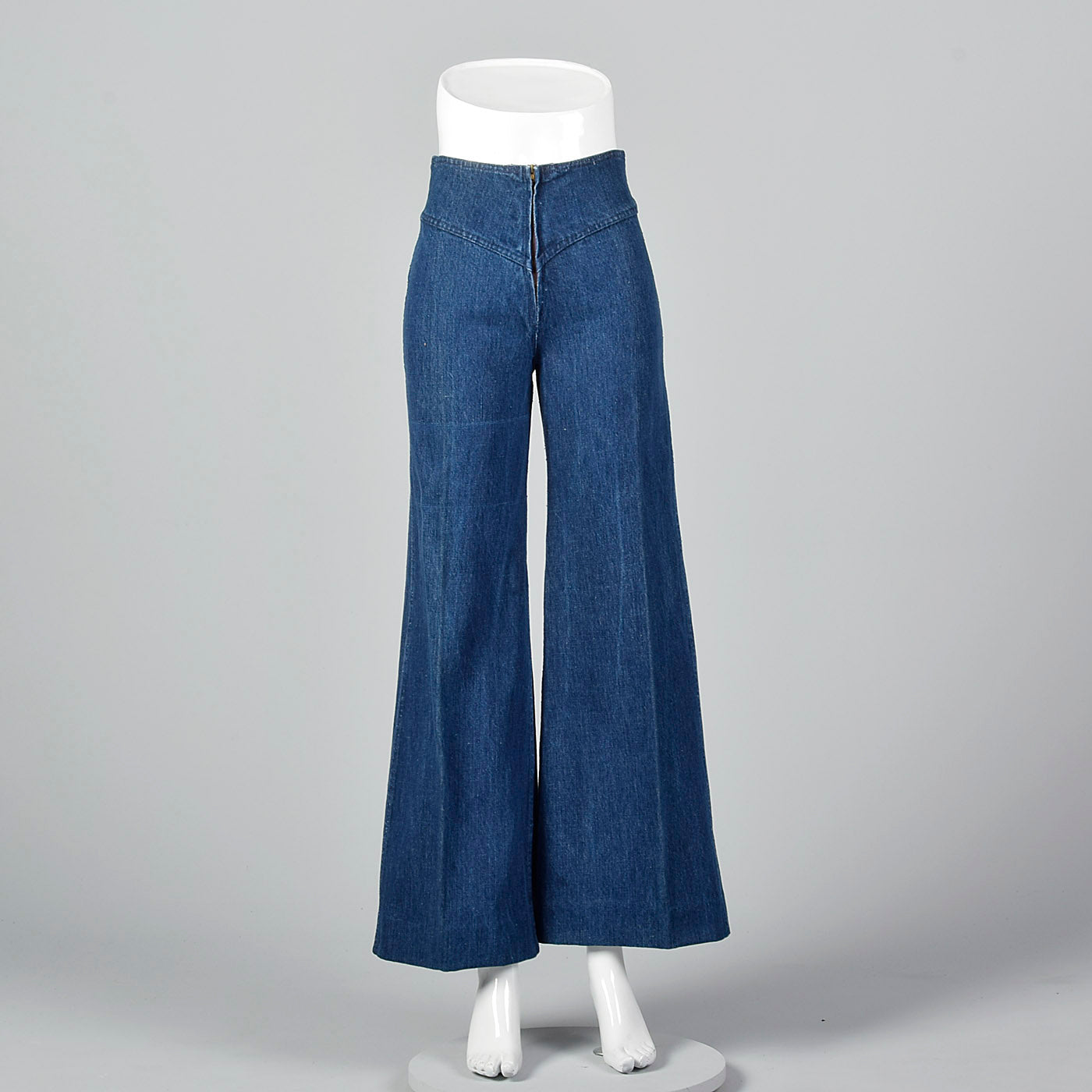 1970s Zip Front Bell Bottoms Cotton Denim