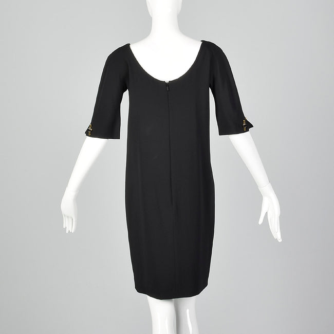 1990s Tom Ford for Gucci Black Shift Dress with Link Buttons
