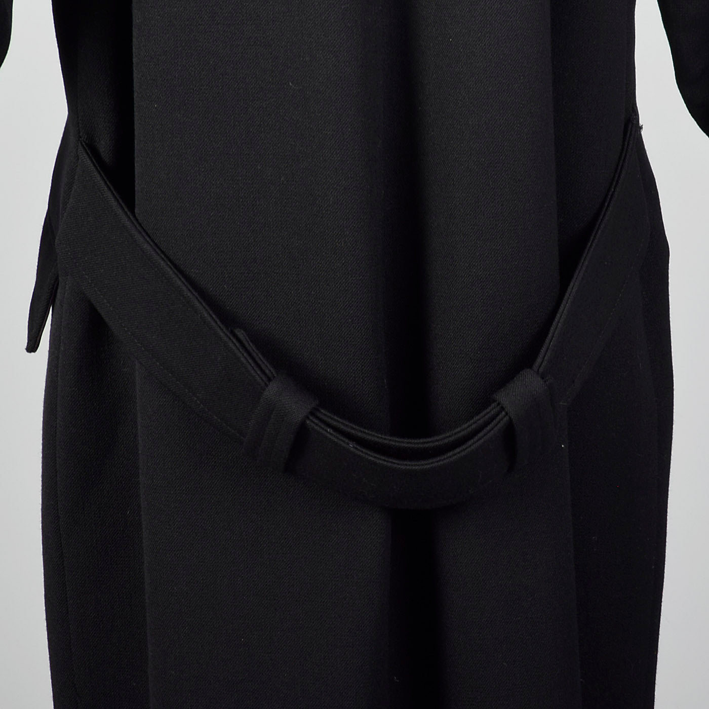 1980s Bill Blass Long Black Overcoat with Convertible Pockets