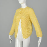 Large 1960s Yellow Sweater Hand Knit In Italy Puff Stitch Cardigan