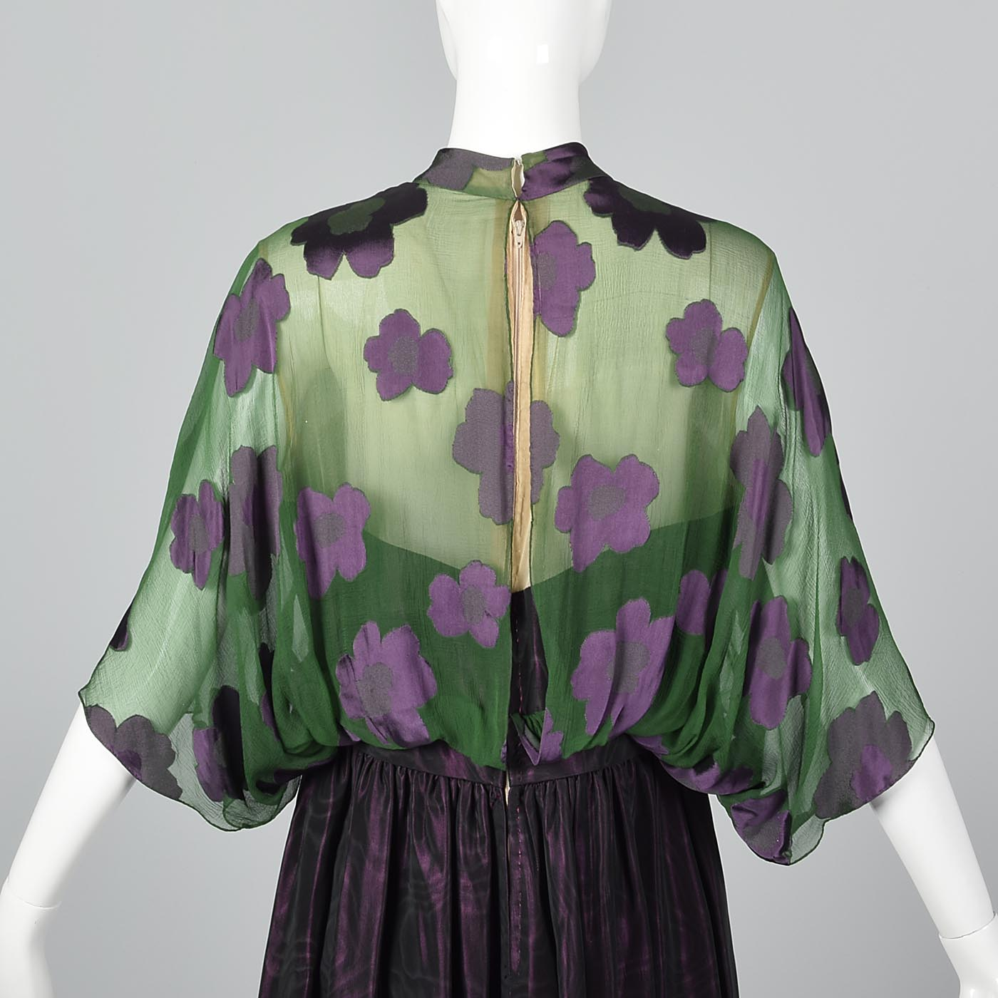 1970s Alfred Bosand Green Silk & Plum Purple Evening Gown