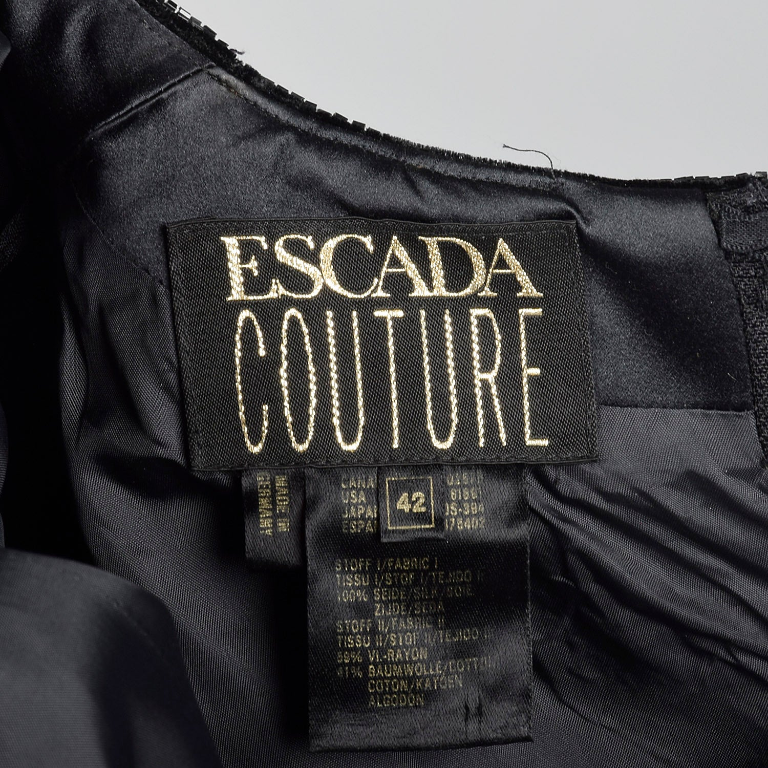 Large Escada Couture 1980s Black Beaded Velvet Gown