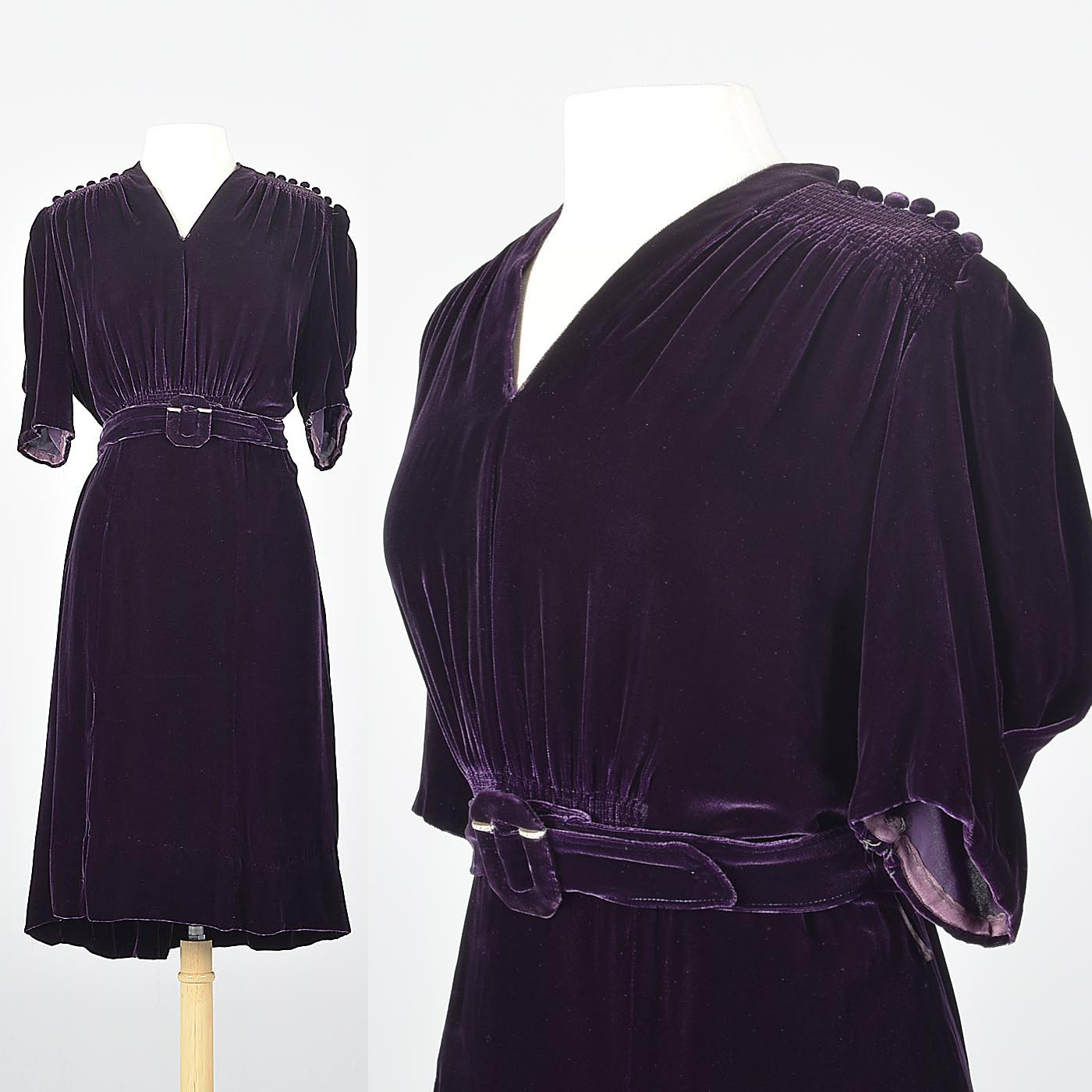 1930s Purple Silk Velvet Dress Art Deco