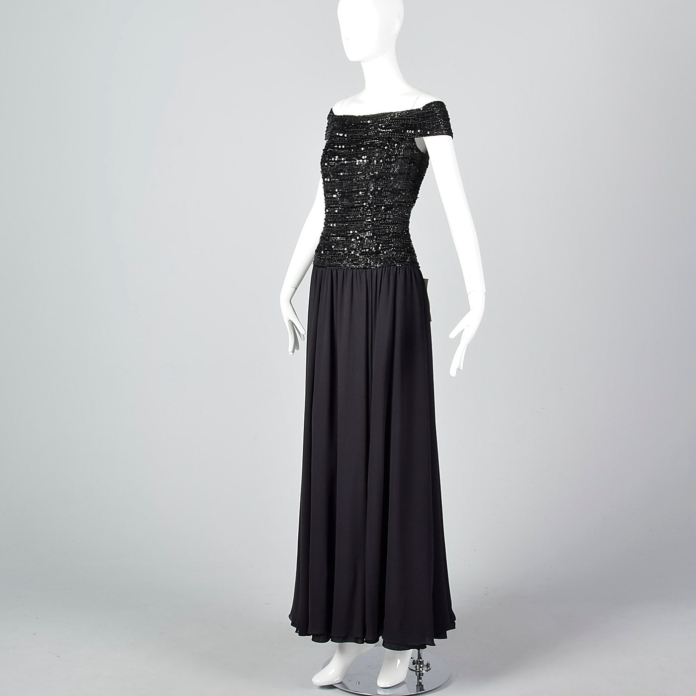 Off Shoulder Oleg Cassini Black Tie Formal Gown with Beaded Bodice and Full Skirt