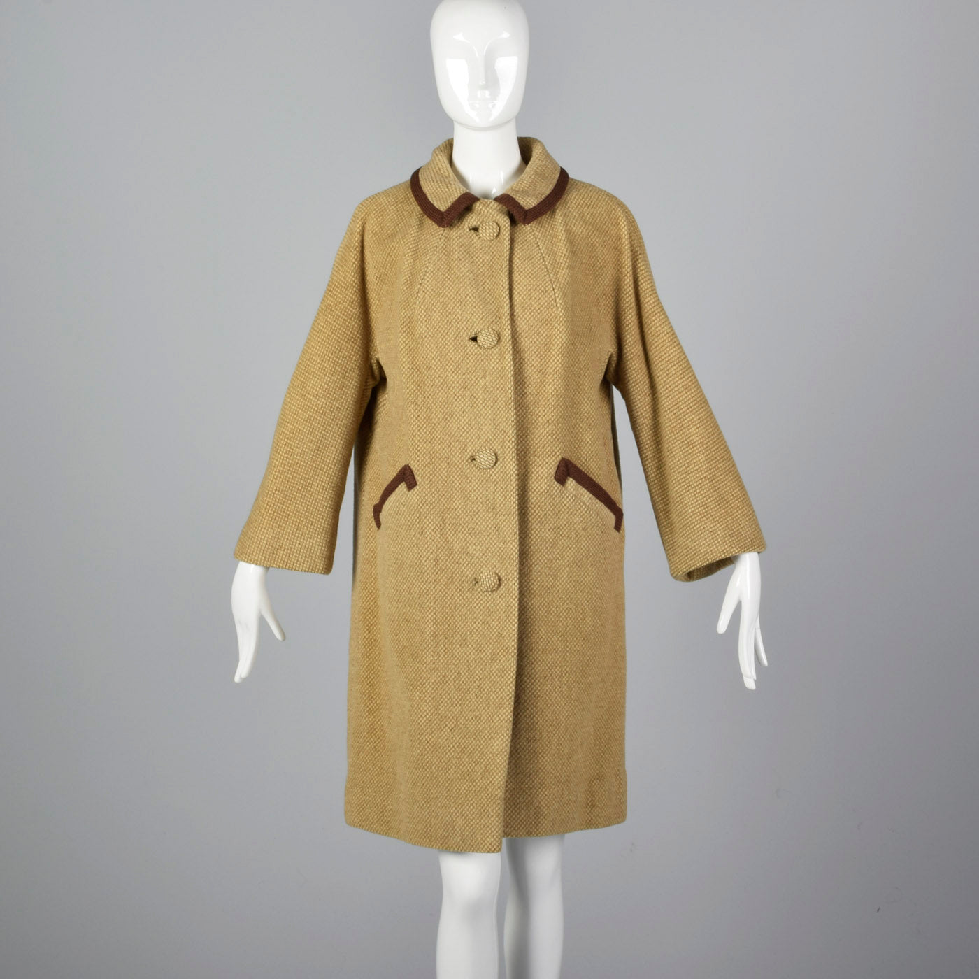 1950s Beige Tweed Coat with Brown Trim