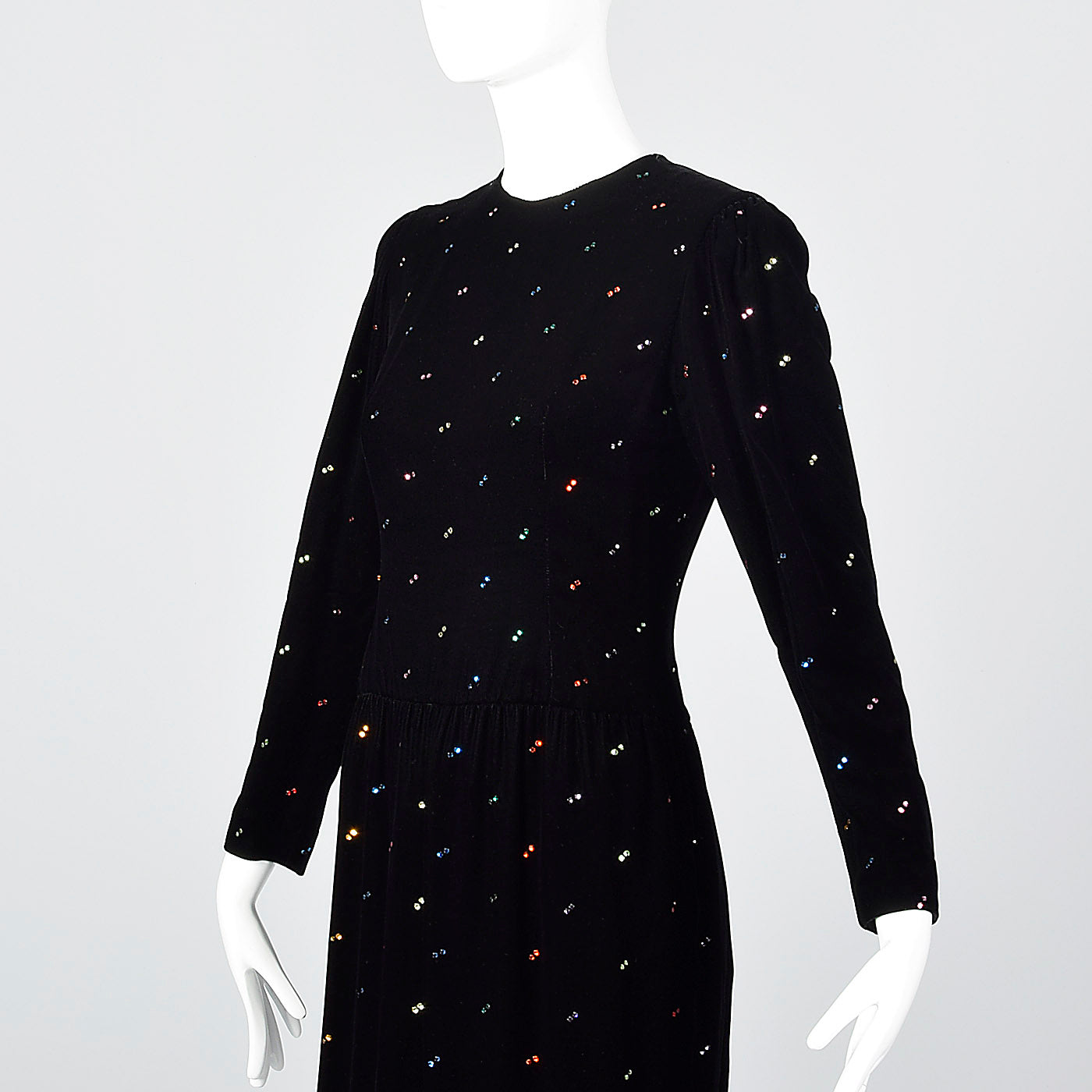 1980s Oscar de la Renta Black Velvet Dress with Rainbow Rhinestones