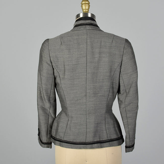 1950s Bonwit Teller Gray Fitted Blazer with Black Trim