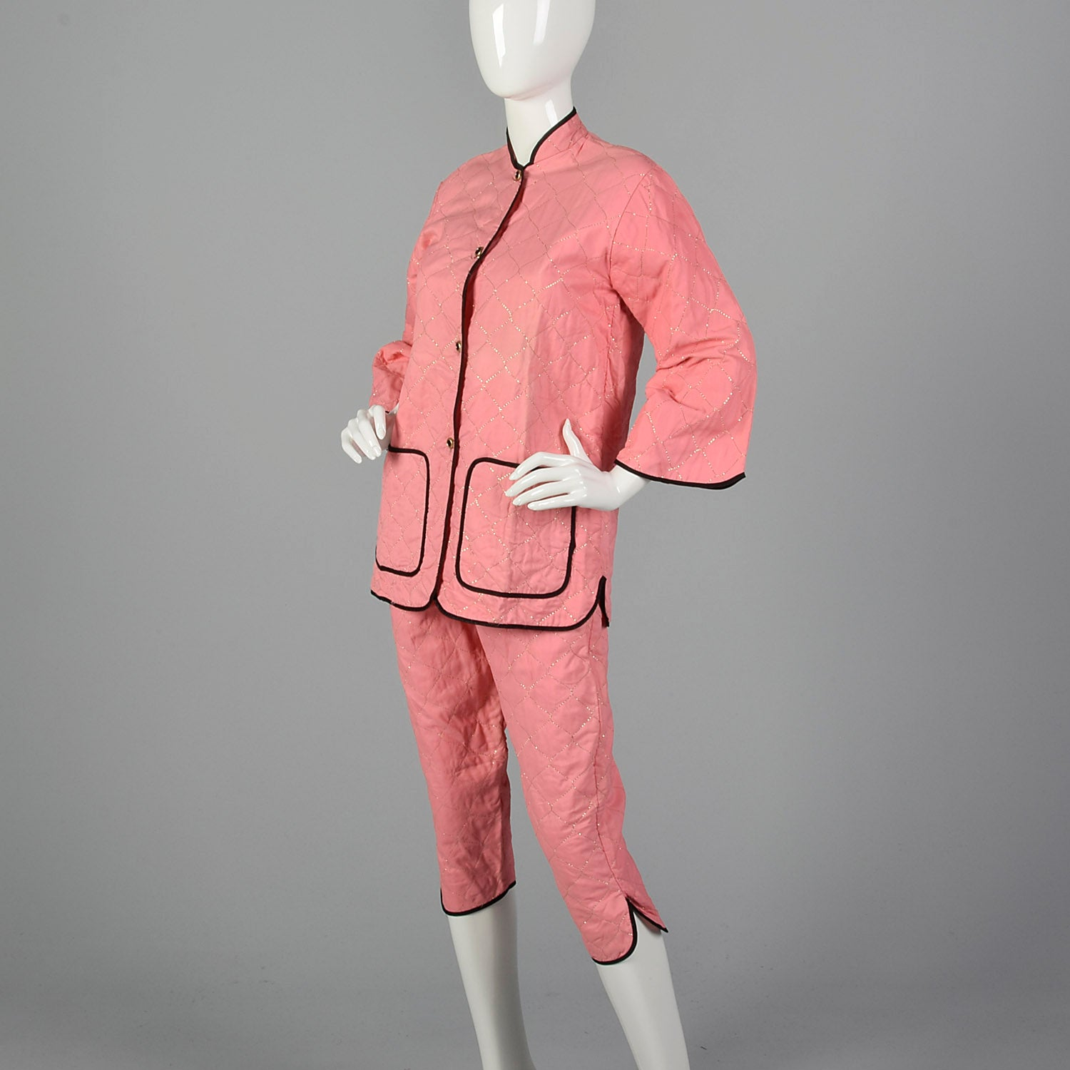 1950s Pink Quilted Pajama Set with Gold Topstitching