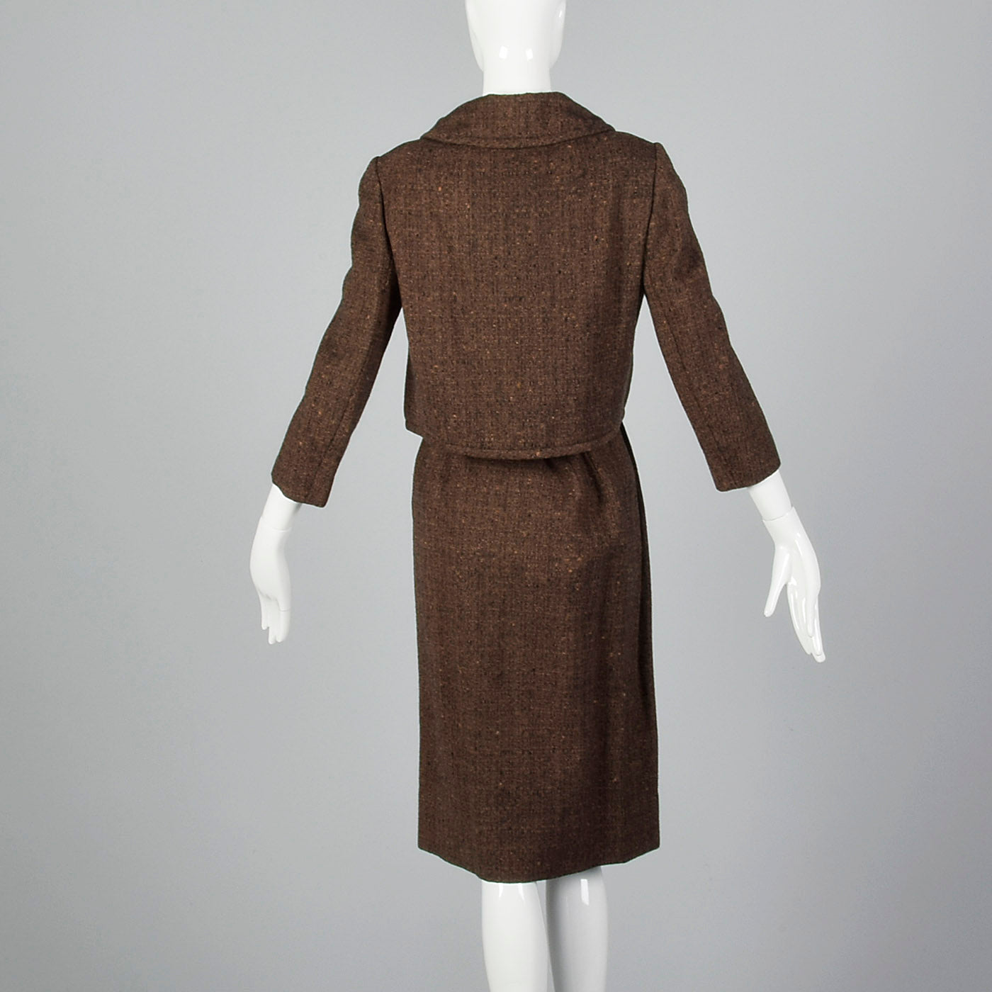 1950s Adele Simpson 28 Shop Wool Tweed Skirt Suit in Brown and Black