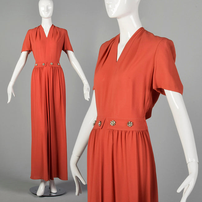 Small 1940s Rayon Crepe Maxi Dress