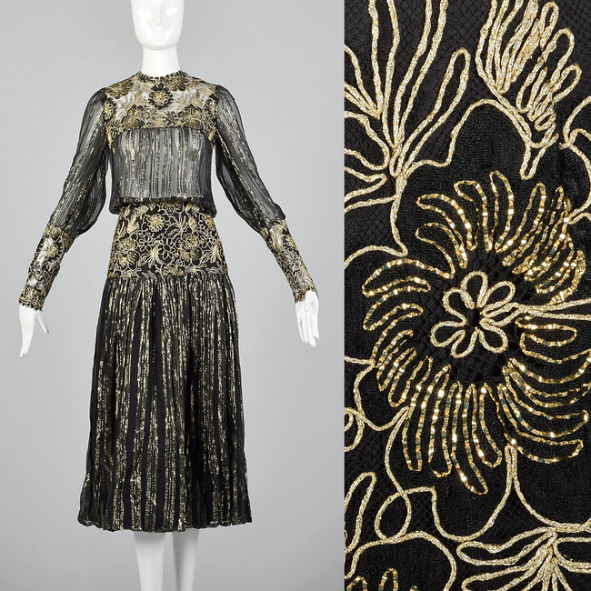 78ceaa836f7 Small Marc Vaughan 1970s Sheer Black and Metallic Gold Dress