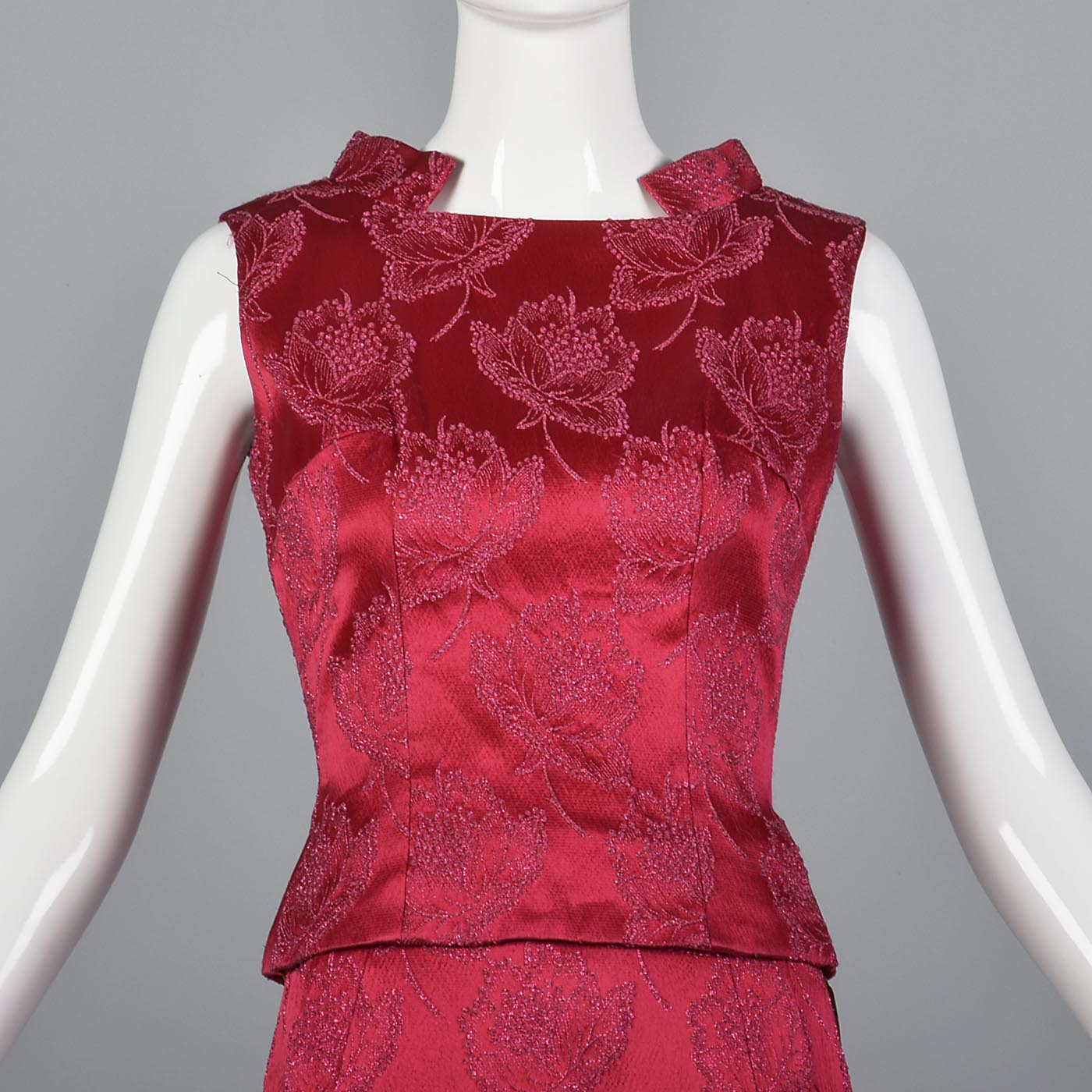 1960s Dark Pink Floral Top and Skirt Set