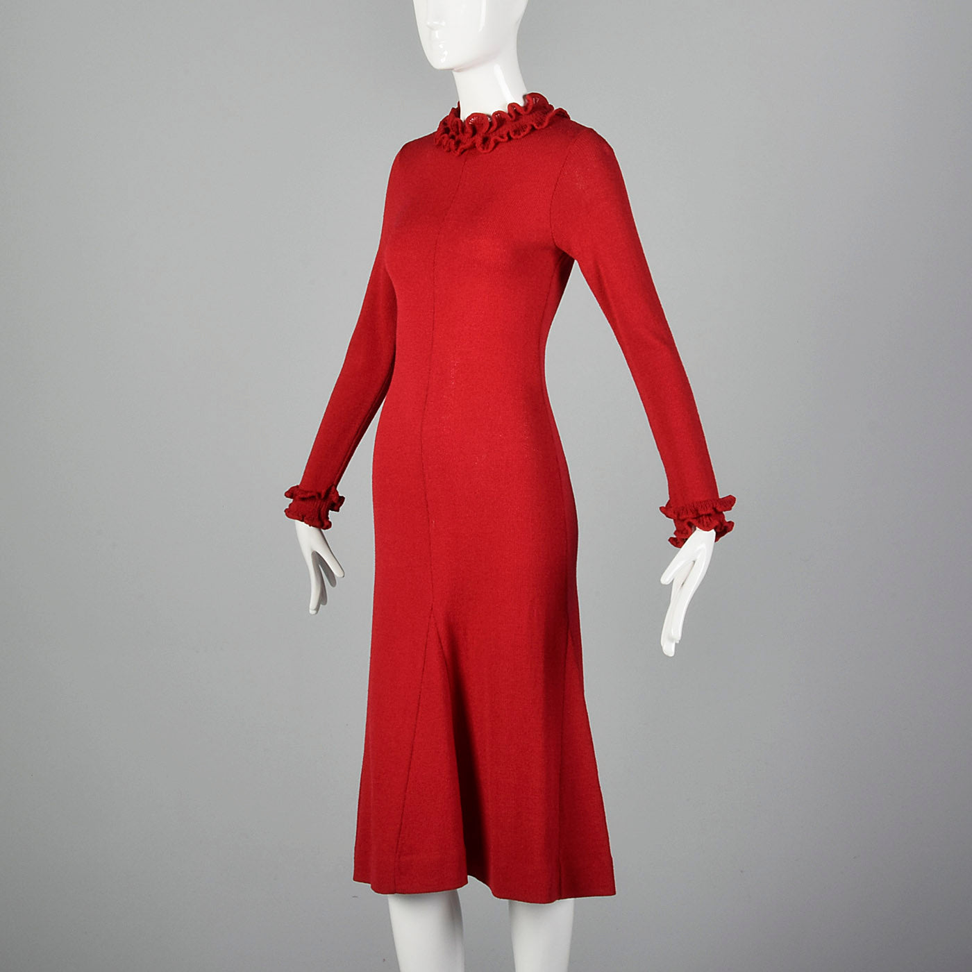 1970s Red Knit Sweater Dress