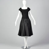 1940s Black Taffeta Dress