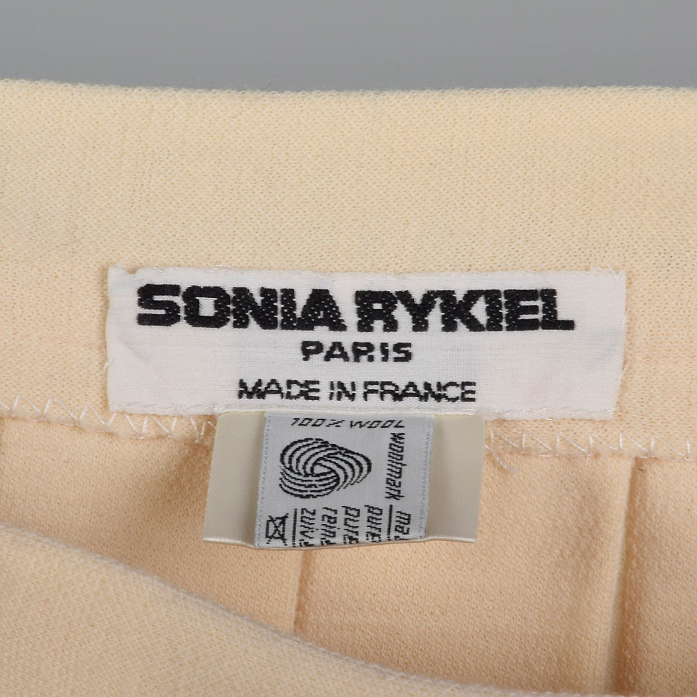 1990s Sonia Rykiel Cream Wool Knit Skirt